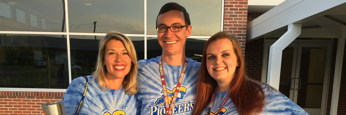 Poage teachers are all smiles on the first day of school.