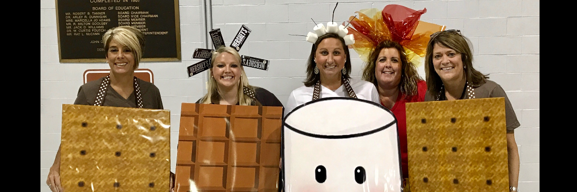 Teachers dressed as S'm.ores on the first day of school.
