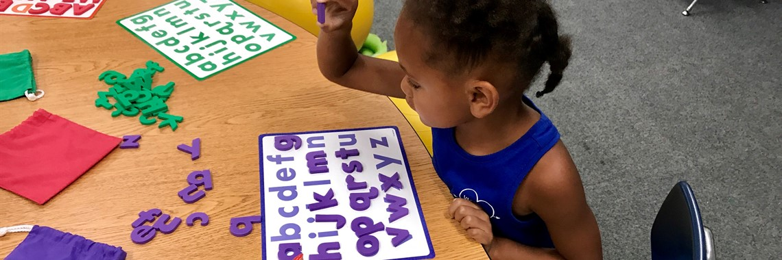 Learning the alphabet at Camp Kindergarten